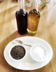 Olive oil, Vinegar, salt and pepper