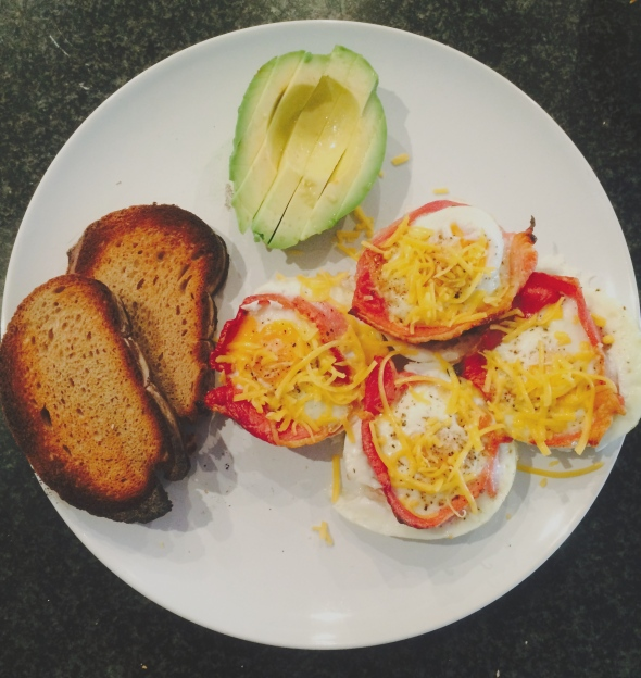 Bacon and Egg Baskets, rye bread and avocado