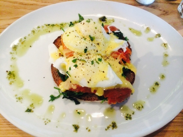 Eggs Benedict with Salmon on Rye at Bootlegger Coffee Company in Cape Town