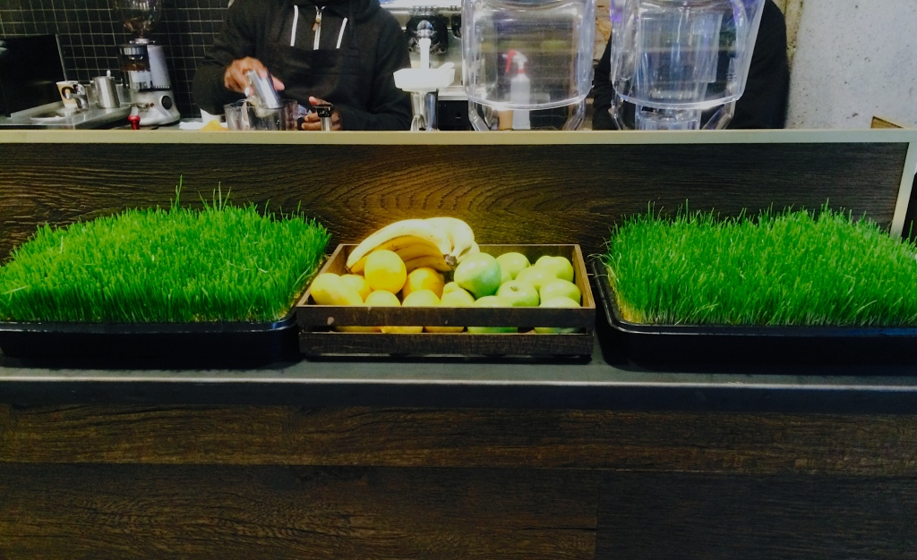 Wheatgrass and fruit at Cold Press