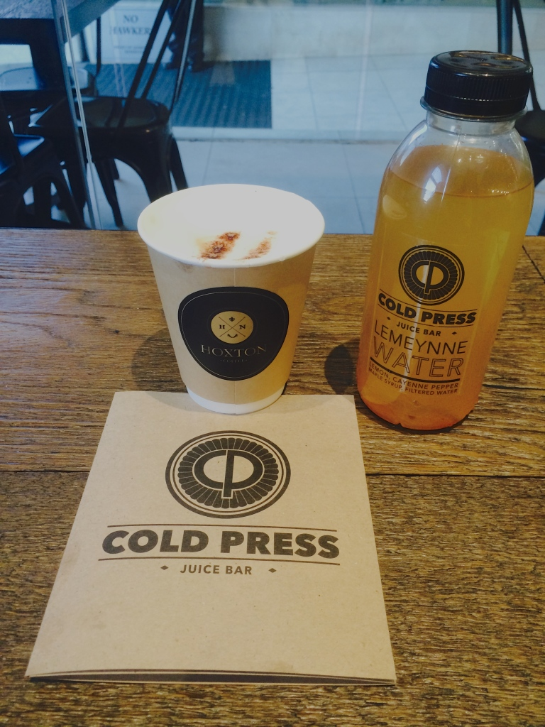 Cappucino and Lemeynne Water at Cold Press