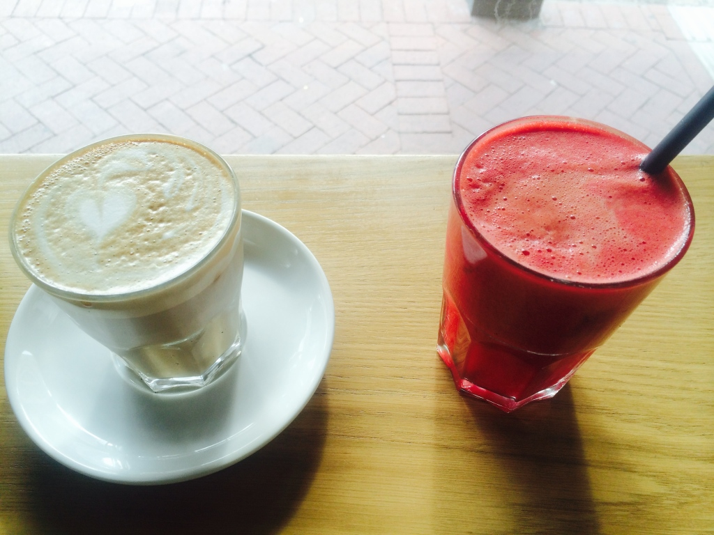 Amazing freshly squeezed juice and a delicious Coffee at Bootlegger Coffee Company in Cape Town