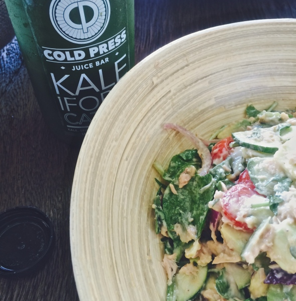 Delicious Tuna salad from Cold Press Cape Town with a Kaleifornication green juice