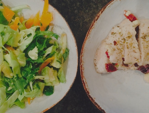 'I'm Stuffed' Chicken breasts with a healthy, delicious salad. Tim Noakes approved