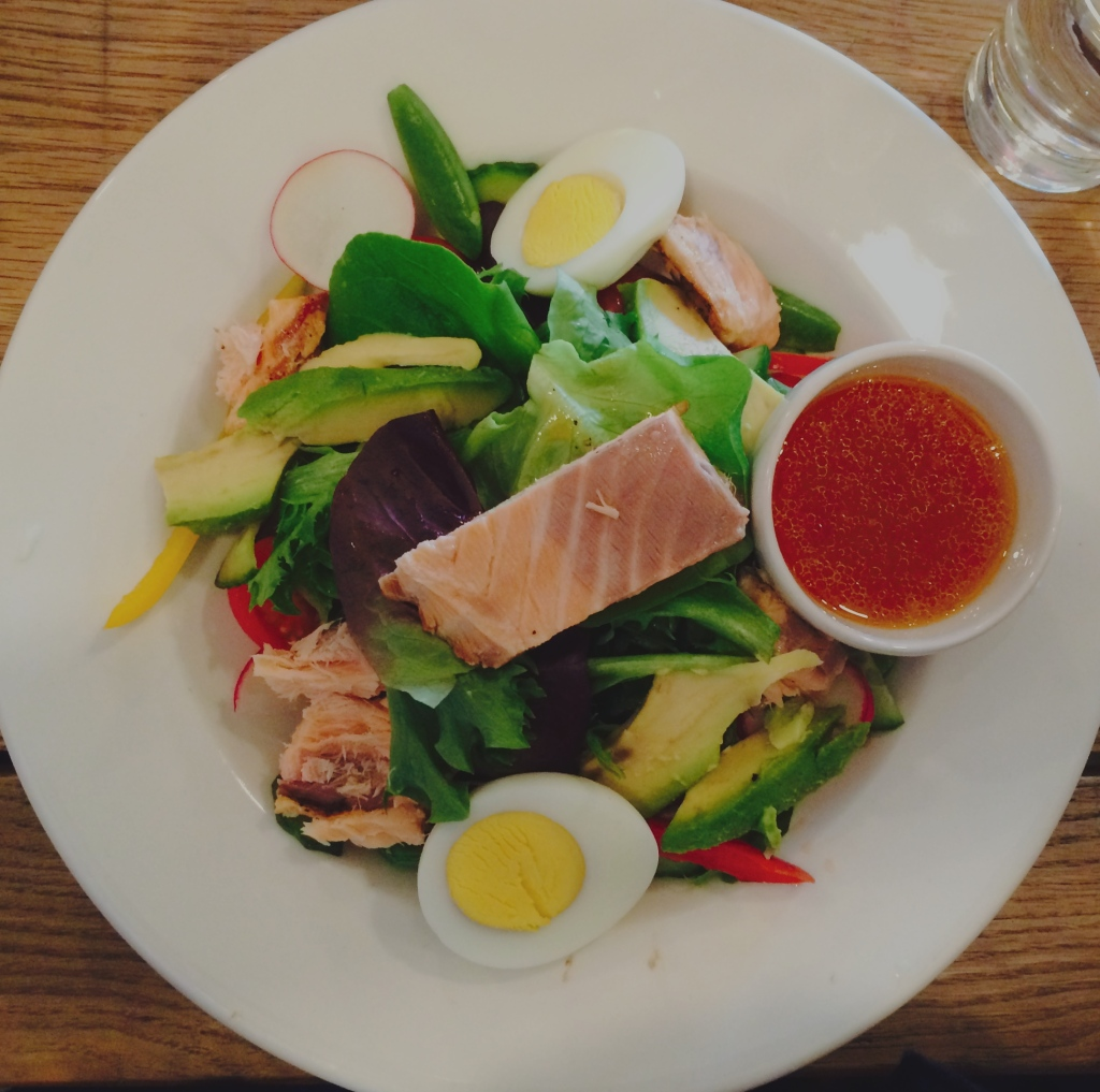 Smoked Trout Salad with Asian dressing and a boiled egg at Croft & Co Parkview