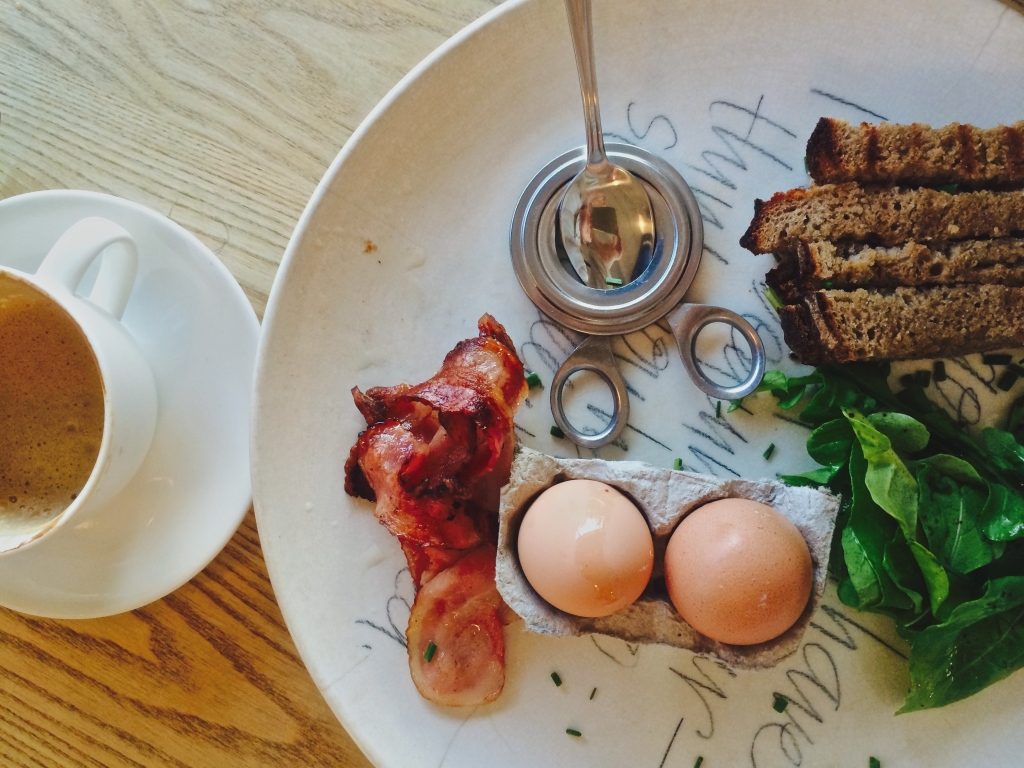 Healthy gluten free Breakfast at Superette, Boiled Eggs and Rye Soldiers
