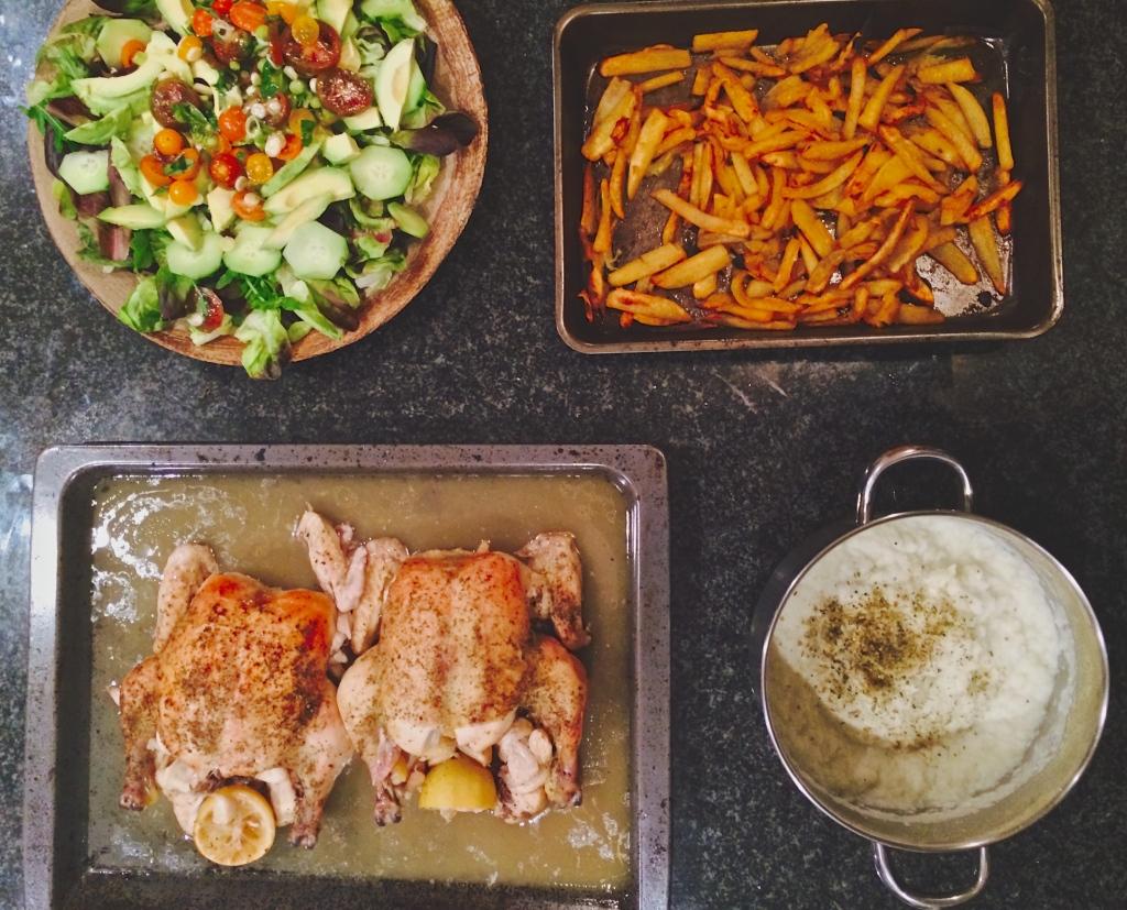 Lemony Roast Chicken, Oven Roasted Sweet Potato Chips, Cauli Mash and Green Salad
