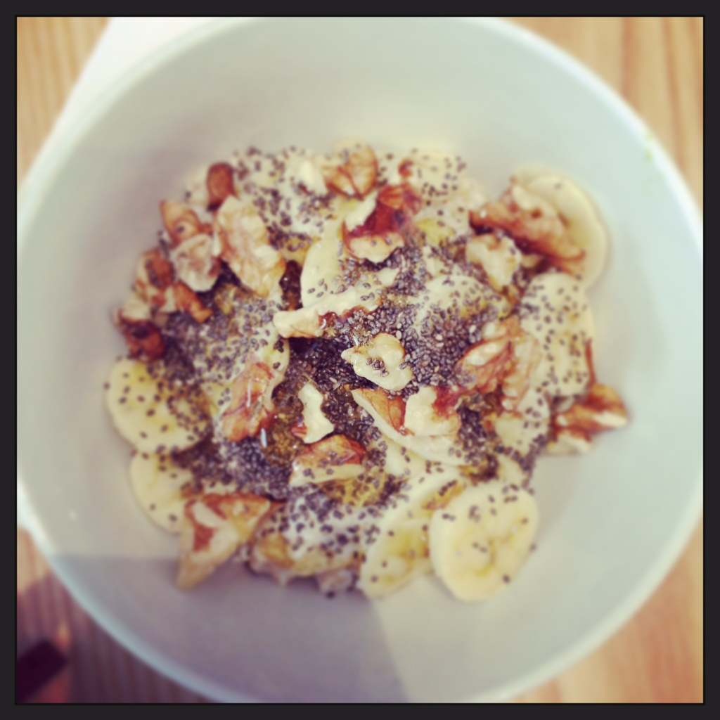 Gluten free Quinoa Bircher At Nu, Greenpoint served with banana, walnuts and extra chia seeds