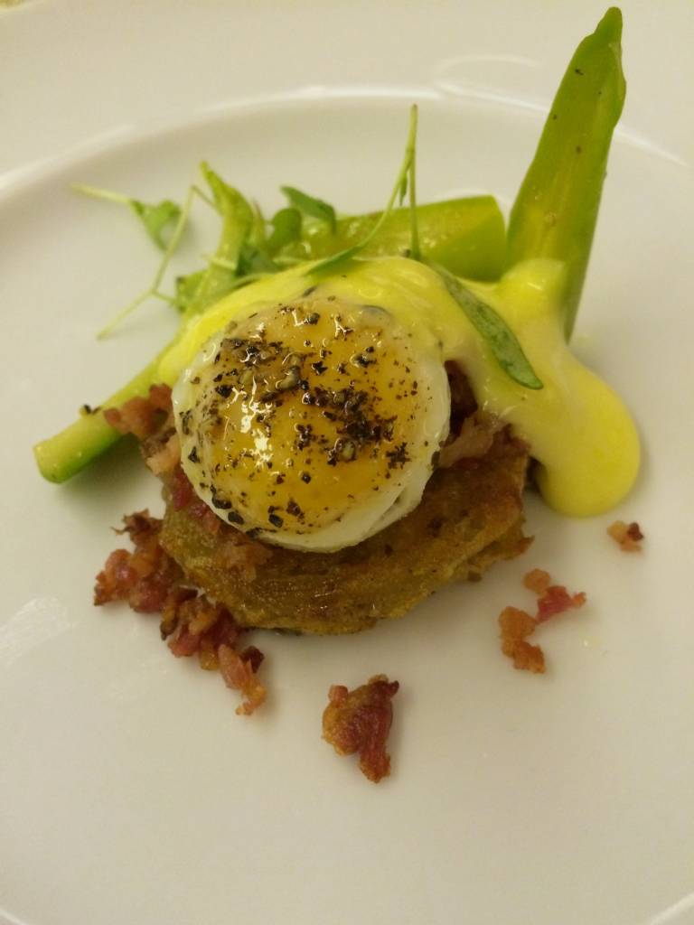 Chef Matt Manning Amuse Bouche - Asparagus, rosti, coddled quail egg and bacon