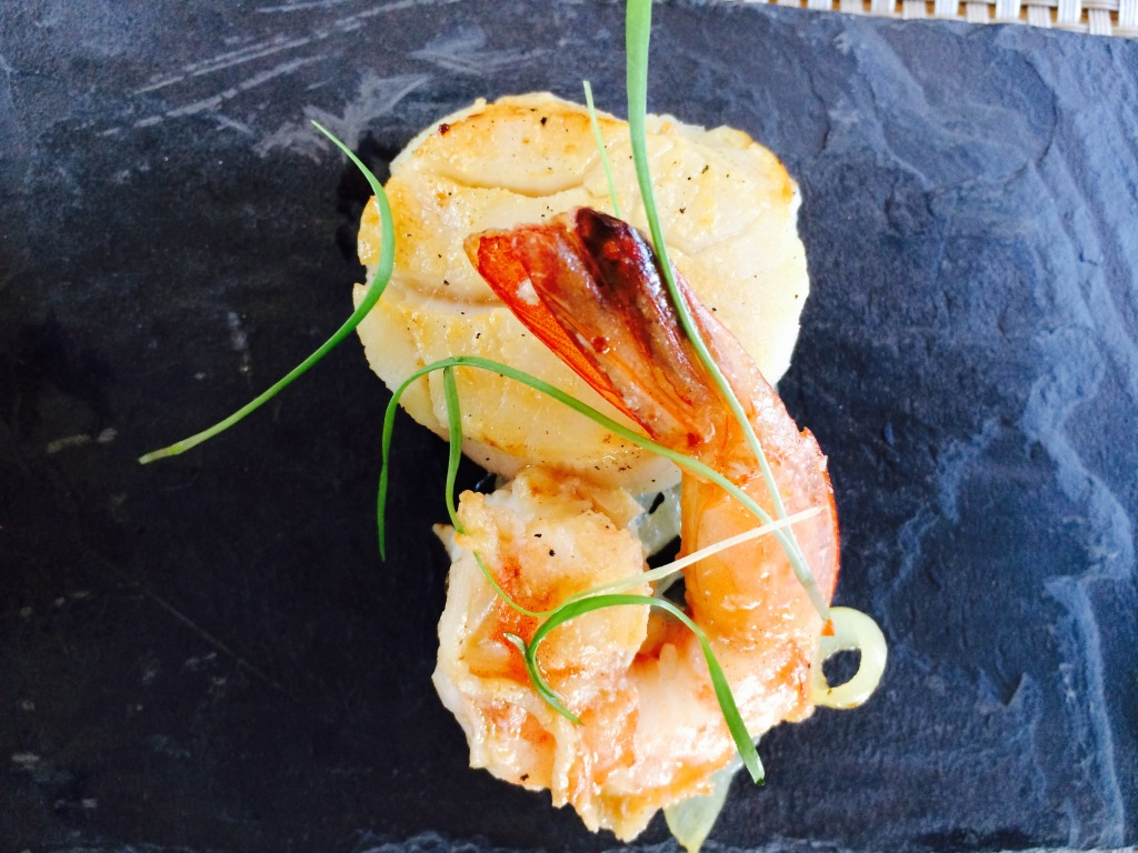 Pan Seared Canadian Scallops and Prawn on onion confit at Durbanville Hills