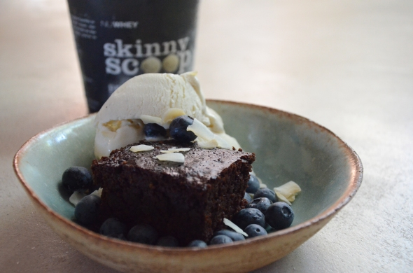 Flourless sugar-free chocolate brownies with blueberries and skinny scoop ice cream